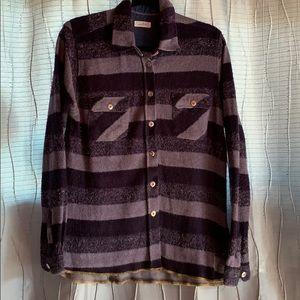 Warm purple plaid long sleeve button down shirt